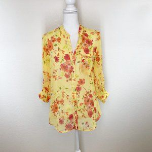 Kut from the Kloth Yellow Floral Med Blouse 0619